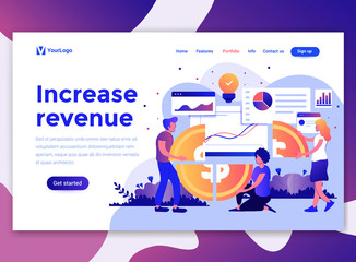 Landing page template of Increase revenue. Modern flat design concept of web page design for website and mobile website. Easy to edit and customize. Vector illustration