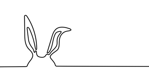 Easter bunny ears banner background in simple one line style with copy space in right side. Black and white minimal rabbit concept vector illustration