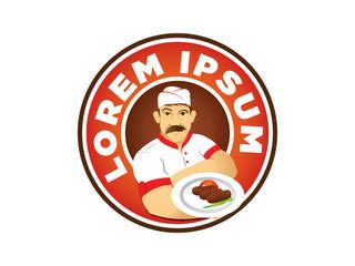 Steak House Chef Mascot Vector Illustration