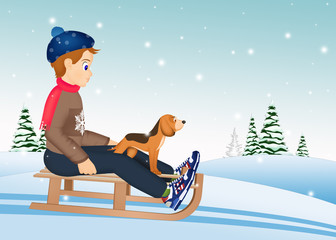child on sleigh with dog in winter