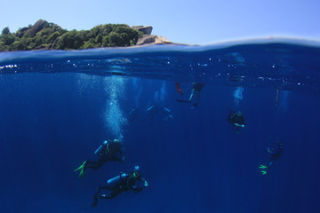 Scuba divers underwater and tropical island