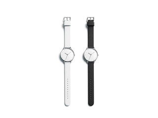 Blank black and white watch wristlet mockup set, isolated, 3d rendering. Empty clockface with leather band mock up, top view. Clear gift jewelry with glass screen. Hand quartz dial template.