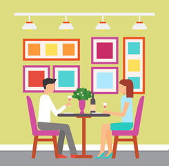 Man and woman sitting at table with bottle and plant, meeting of couple, holding glass of wine. Room decorated with lamp and colorful pictures vector