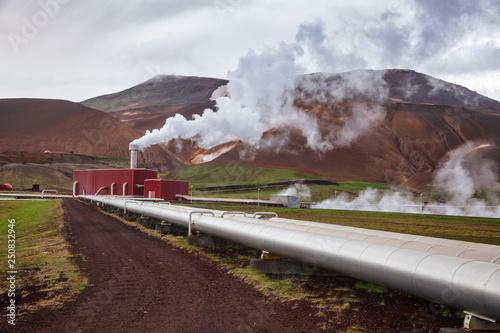 Krafla geothermal power plant pipeline Northeastern Iceland