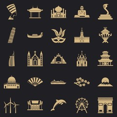 World religion icons set. Simple set of 25 world religion vector icons for web for any design