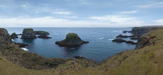 Wide scenery of Arnastapi cliffs on Snaefellsnes peninsula at west Iceland