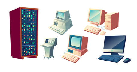 Computers evolution cartoon vector concept. Vintage old computing stations, retro system units and monitors, modern desktop PC with keyboard and mouse illustrations set isolated on white background