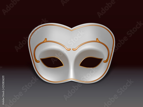 591a0fb8b White colombina half-face mask decorated with golden ornament 3d realistic vector  icon on black