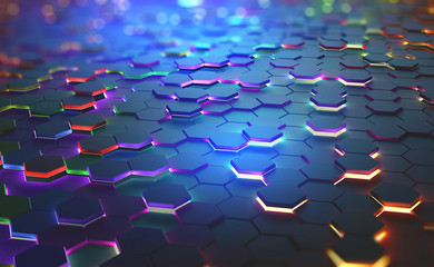 A field of hexagons in a futuristic 3D illustration. Bright color and neon light of the heated edges of the hexagons. Shallow depth of field with bokeh effect