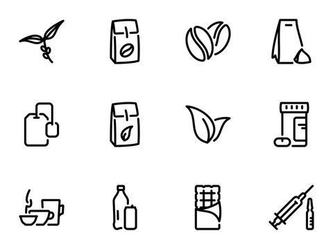 Set of black vector icons, isolated against white background. Illustration on a theme The main types of tea and coffee. Caffeine