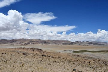 China, Tibet. Large clouds over the TRANS-Himalayas in the area of lake Teri Tashi Nam Co in summer