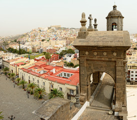 Cityscape of Las Palmas de Gran Canaria at Canary islands. Aerial view from roof top