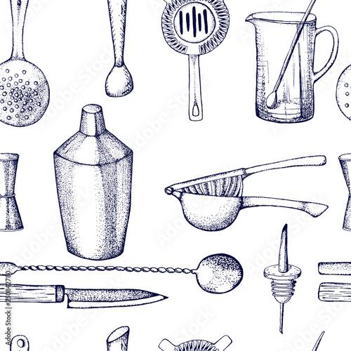 Bartender equipment for making cocktail Hand drawn