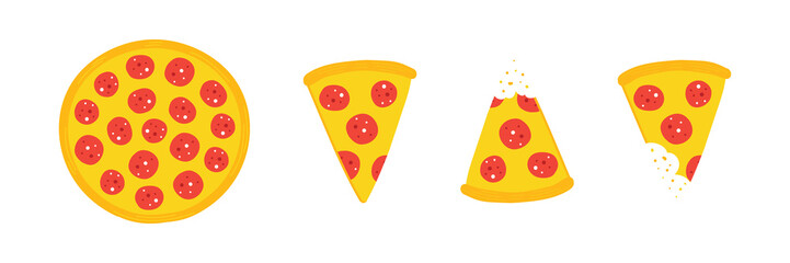 Set, collection of vector pepperoni pizza slices and whole pizza isolated on white background.