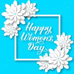 Happy Women's Day calligraphy lettering with paper cut flowers. Origami style vector illustration. Floral international womens day party invitations, greeting cards, banner, poster, etc