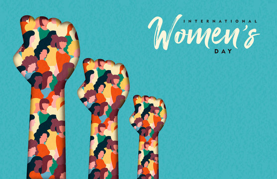 Women's Day card of women hands together