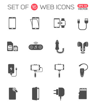 smartphone accessories icon set. smartphone accessories vector icons for web, mobile and user interface design