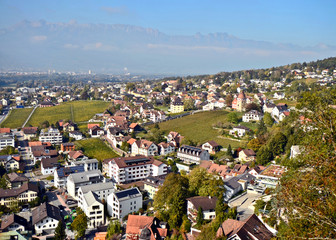 Views over the neighbourhood in Vaduz - Capital City of the Principality of Liechtenstein, a landlocked micro-state in Central Europe.