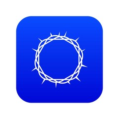 Crown of thorns icon digital blue for any design isolated on white vector illustration