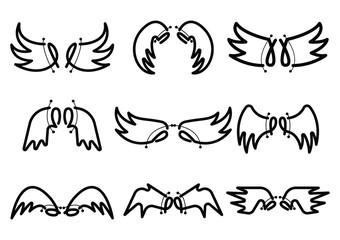 hand drawn Set of Cute Angel Wing