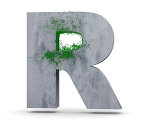 Concrete Capital Letter - R from which the vine grows, isolated on white background. 3D render Illustration