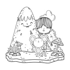 little mouse with boy in the landscape