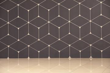 Geometric pattern on color wall. Modern design