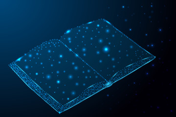 depicting education with stars and lines in shape of a book on blue background