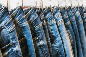 many models of jeans from different denim, texture, color hang on hangers Wall mural