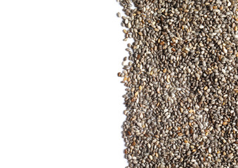 Chia seeds isolated on white, top view