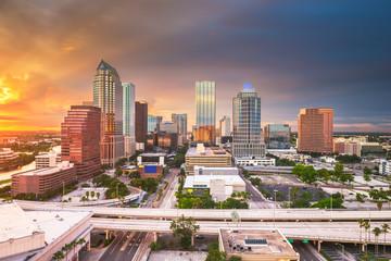 Wall Mural - Tampa, Florida, USA aerial downtown skyline.