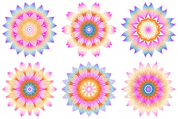 Set of Design With Floral Mandala Ornament. Vector Illustration. For Coloring Book, Greeting Card, Invitation, Tattoo. Anti-Stress Therapy Pattern. Rainbow color
