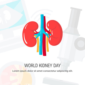 World kidney day concept in flat style