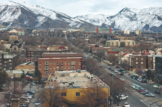 Elevated, wide-angle view of downtown Salt Lake City looking East.