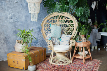 Rattan peacock chair and big monstera plant in loft room Fototapete