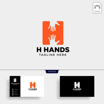 minimal H letter, initial hand logo template vector illustration icon element