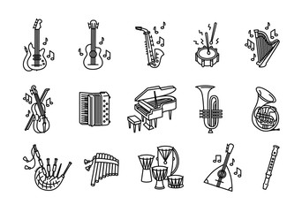 Vector illustration concept of Music instruments set. Icon on white background