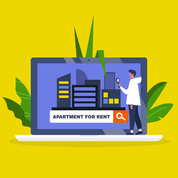 Young male character using an online platform to find an apartment for rent / House renting service. Flat editable vector illustration, clip art