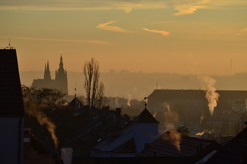 View on Prague castsle in cold freezing morning light