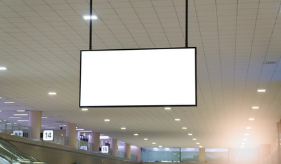 Blank billboard posters in the airport,Empty advertising billboard at aerodrome.