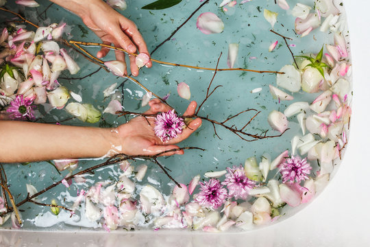 Top view of bath filled with blue bubble water, flowers, branches and petals with woman's hand, spa or selfcare concept