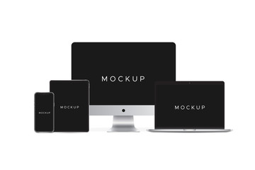 mockup set have computer pc computer notebook smartphone teblet isolated on white background