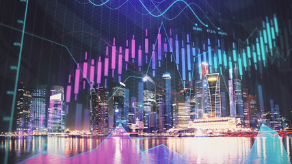 Trading graph on the cityscape at night background. Business and financial concept. Double exposure. Singapore