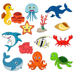 Sea animals cartoon set