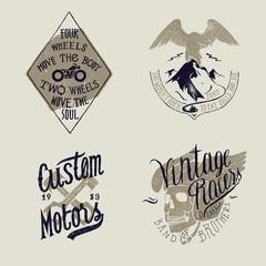 Motorcycle rider t-shirt print set: Two wheels bike, mountain eagle motorbike rider, crossed motorcycle pistons, skull in winged helmet. Bike print design.