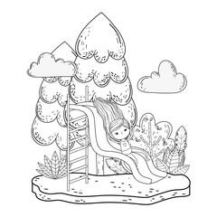 little girl with swimwear on slide in the park