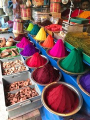 Colorful Powders in the Market in India