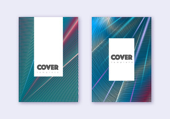 Hipster cover design template set. Red white blue