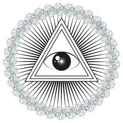 All seeing eye with rays of light and delta symbol