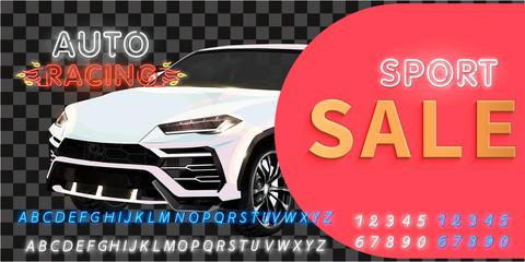 Super car design concept. Unique modern realistic art. Generic luxury automobile. Sale Car presentation side view. 3D illustration